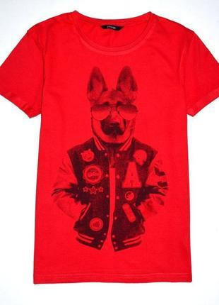 George. красная футболка с хиповой  овчаркой. 10-11 лет. рост 140-146 см.