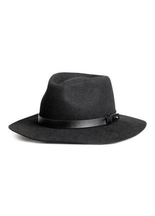 Обнова! широкополая черная фетровая шерсть шляпа федора новая с кож лентой