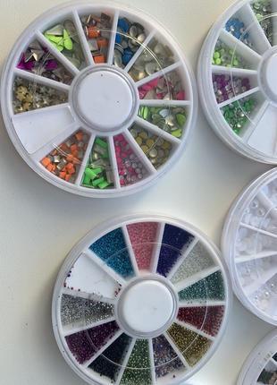 6 шт. набір декору для манікюра бульонки, перлини, жемчуг,камінчики, блискітки.