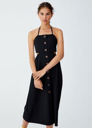 Обнова! платье сарафан миди с пуговицами с лифом а-силуэт новое