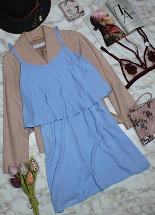 Обнова! платье сарафан нежно голубой с воланом