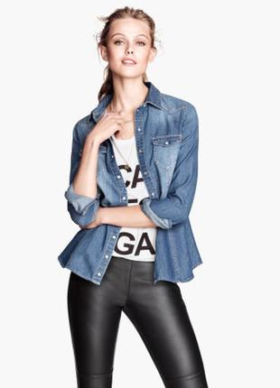 Обнова! рубашка джинсовая деним качество бренд h&m