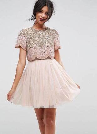 Тюлевое платье мини для выпускного с отделкой asos