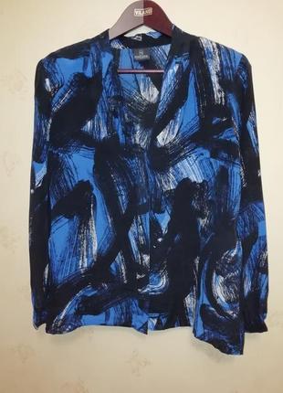 Шёлковая блузка с шалевым воротником и интересным рисунком размер наш 50