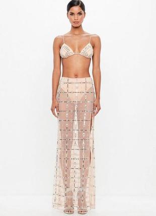 Стильная прозрачная юбка макси в паетки и бисер