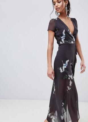 Платье макси в цветы и птицы на запах