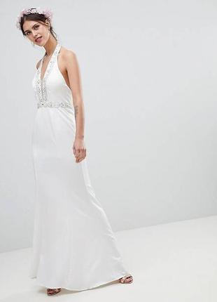 Декорированное платье макси с глубоким вырезом minuet