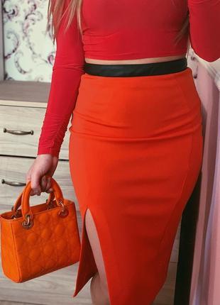 Юбка карандаш миди с разрезом оранжевая