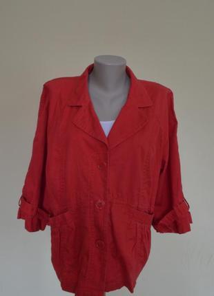 Классная фирменная  легкая курточка или жакет из котона красного цвета,размер 20