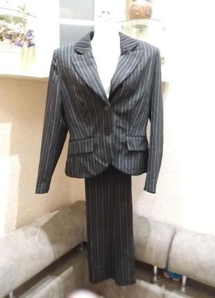 Стильный женский брючный костюм в полоску пиджак и брюки бренд-- merlose --s/m