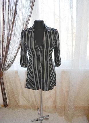 Стройнящая натуральная рубашка, мини платье, в полоску, вискоза, лен, полотно