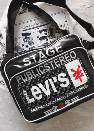 Чёрная спортивная сумка levi's 2 цвета