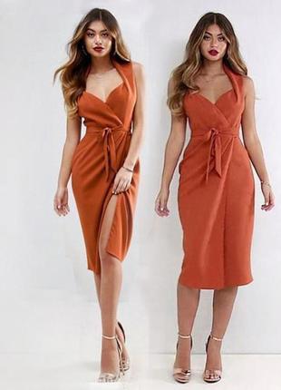 Платье asos на запах с вырезом сердечком и поясом