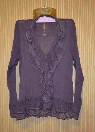 40/12/l шифоново-кружевная блуза офисная, нарядная. sixth sense