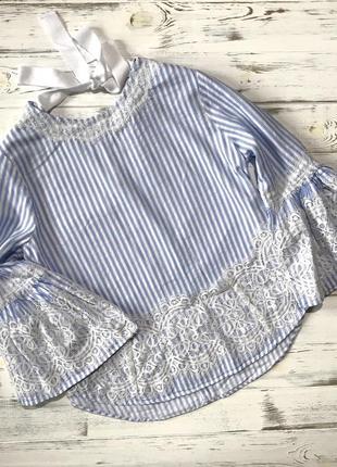 Нежная полосатая блуза с кружевом zara