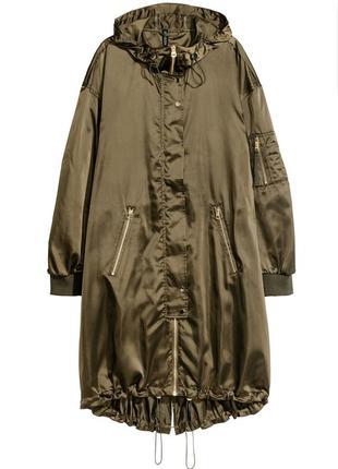 Стильная куртка, плащ, дождевик h&m цвета хаки.