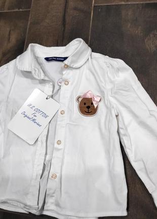 Нежная блуза с аппликацией мишки и воланом сзади от original marines, 9-12 мес. новая!