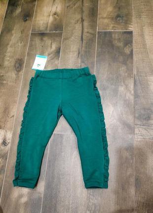 Стильные зеленые хлопковые штаники-лосинки  mirtello by disney, 24 мес.