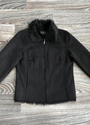 Черная куртка дубленка косуха на полной меховой подкладке, мех из шерсти акрил principles