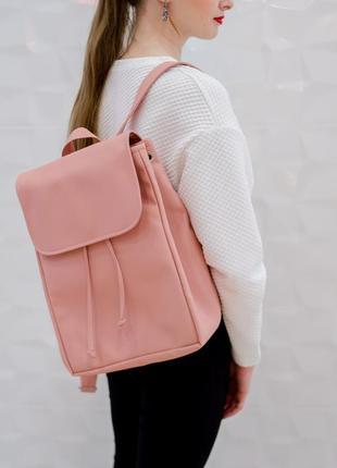 Вместительный женский рюкзак пудровый под ноутбук с экокожи