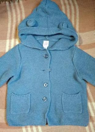 Кофта на пуговичках с капюшоном и ушками, мальчику на 18-24 месяцев