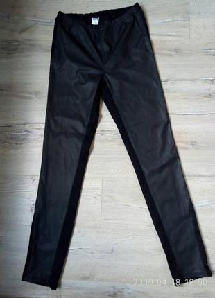 Стильні штани-легінси ,спереду вставки з еко шкіри