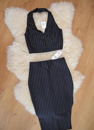 Miss selfridge стильный костюм юбка миди и топ с воротником