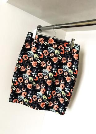 Облегающая летняя весенняя женская юбка карандаш цветочный принт завышенная высокая талия