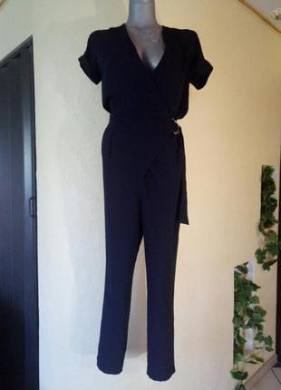 Классный комбинезон на запах,зауженные брюки