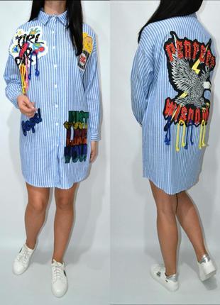 Рубашка платье оверсайз с нашивками zara.