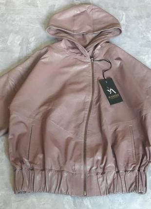 Женская кожаная куртка с капюшоном, оверсайз