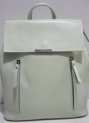 Женский кожаный рюкзак-сумка (мятный) 19-04-008