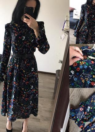 Нове стильне ретро плаття в квіти з рюшами
