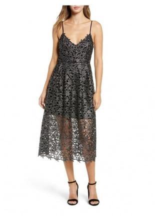 Серебристое миди платье astr