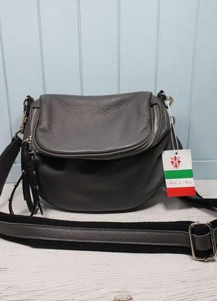 Женская кожаная итальянская сумка серая синяя чёрная жіноча шкіряна сумка чорна італія