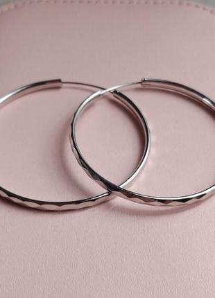 Серьги кольца серебряные