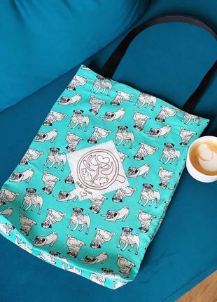 Эко сумка шоппер торба @don.bacon голубая собаки мопсы чашка кофе