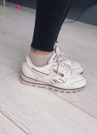 Кроссовки reebok classic,белые , кожа