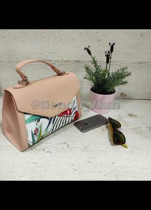 Женская сумка через плечо с цветочный принтом от david jones g-9126-1 pink