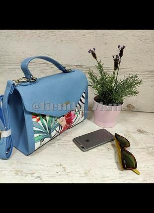 Женская сумка через плечо с цветочный принтом от david jones g-9126-1 голубая