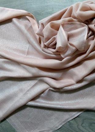 Стильные лёгкие шарфы палантины с блеском, люрексовая нить. пудра, розовый