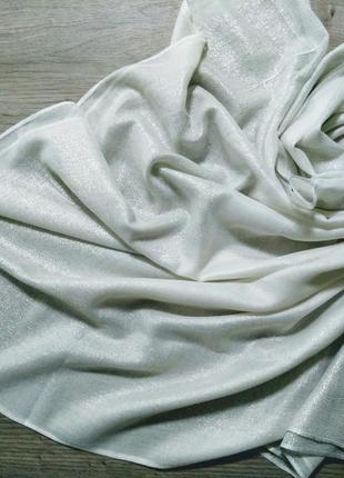 Стильные лёгкие шарфы палантины с блеском, люрексовая нить. белый