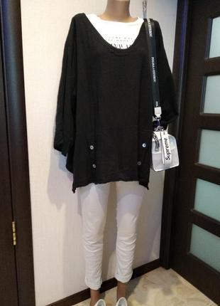 Тонкая легкая брэндовая блузка рубашка кофточка черная большого размера