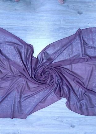 Стильные лёгкие шарфы палантины с блеском, люрексовая нить. сиреневый, лиловый