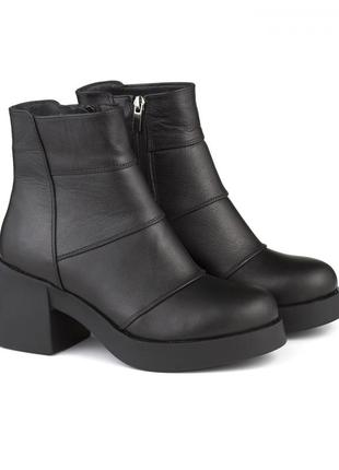Кожаные демисезонные ботиночки на массивном каблуке