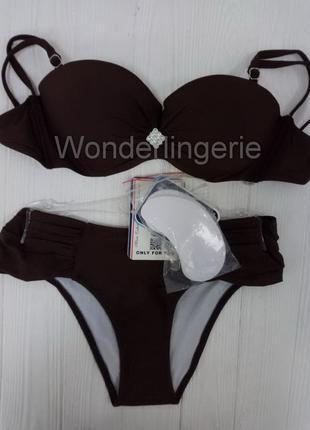 Janet marko коричневый раздельный купальник с украшением съемные бретели и пушап2 фото