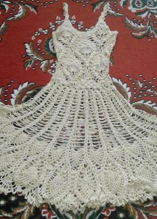 Вязаное летнее платье.