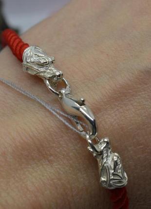 Серебряный #браслет #драконы, #красная_нить #оберіг, #на_руку, #унисекс, #925, все размеры