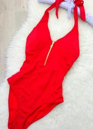 Крутой красный купальник сдельный с молнией