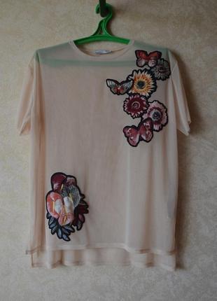 Трендовая прозрачная футболка с вышивкой сетка футболка zara
